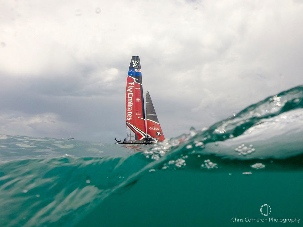 The Great Sound, Bermuda 12th June 2017. Emirates Team New Zealand waits for race seven of the Louis Vuitton America's Cup Challenger series to be re started after the first attempt was abandoned when race time limit was exceeded.