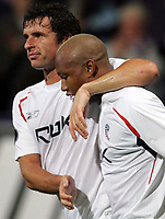Photo: Paul Thomas.<br /> Bolton Wanderers v Braga. UEFA Cup. 25/10/2007.<br /> <br /> Goal scorer El Hadji Diouf of Bolton is congratulated by Gary Speed (L). *** Local Caption *** *** UK ONLY ***