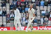 Wicket - Stuart Broad of England celebrates taking the wicket of Jasprit Bumrah of India during day two of the fourth SpecSavers International Test Match 2018 match between England and India at the Ageas Bowl, Southampton, United Kingdom on 31 August 2018.