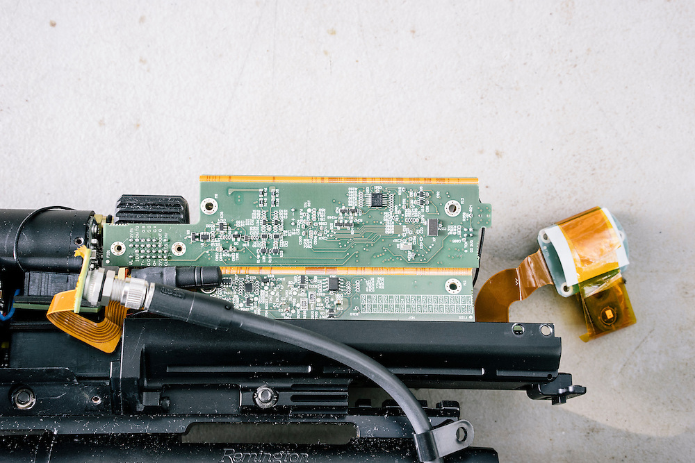 The exposed circuitboards of the Tracking Point TP750 that Runa Sandvik and Michael Auger hacked to control where the rounds hit.