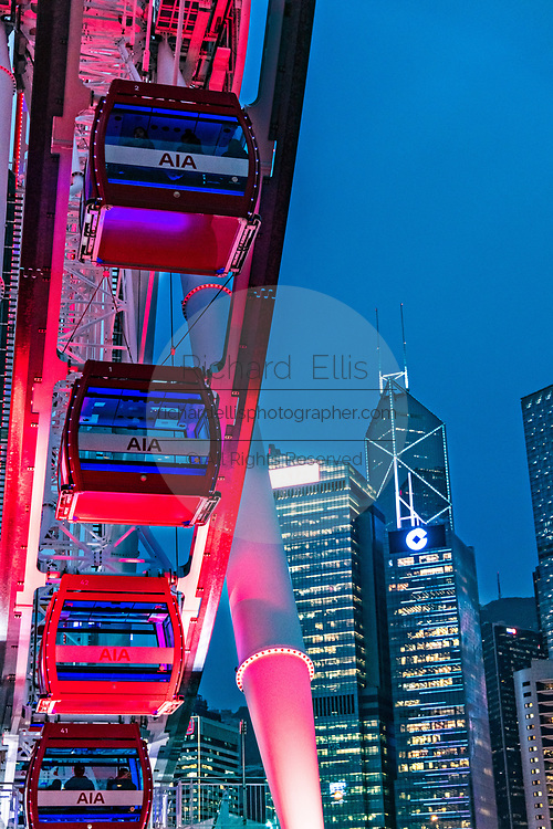 The Hong Kong Observation Wheel and Central District skyline from the AIA Vitality Park on Hong Kong Island.