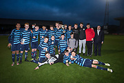 Monifieth High celebrate with the Cup after beating Grove Academy in the Senior Schools Cup final at Dens Park, Dundee, Photo: David Young<br /> <br />  - &copy; David Young - www.davidyoungphoto.co.uk - email: davidyoungphoto@gmail.com