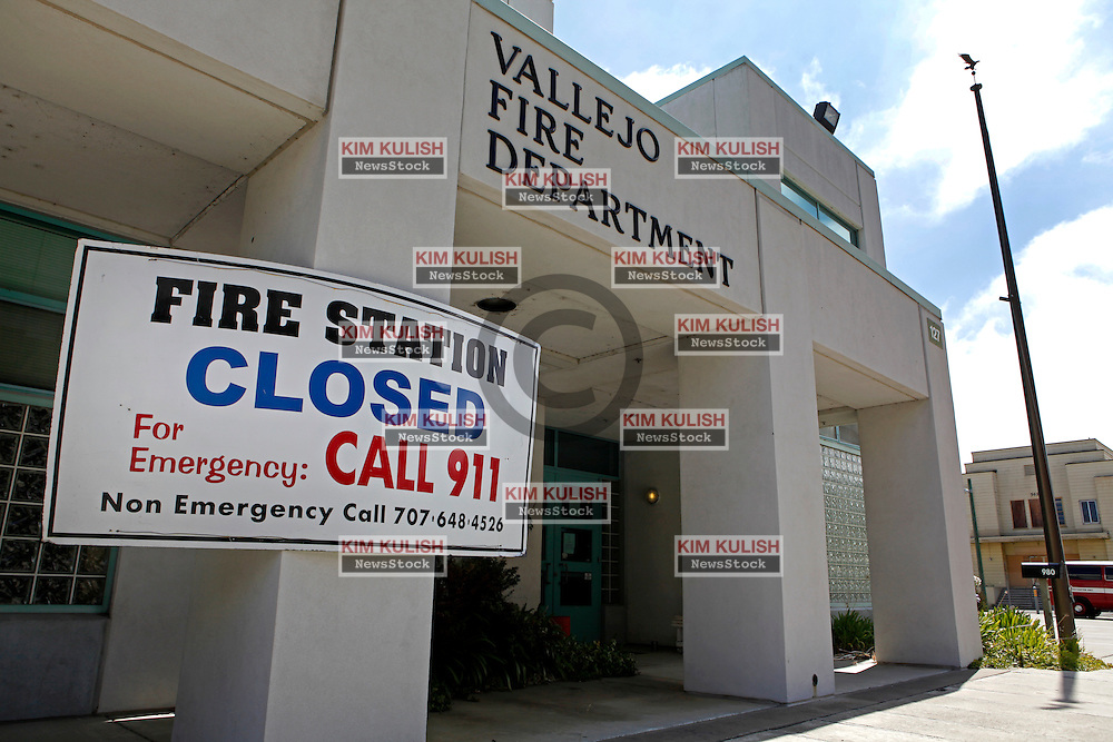 Fire station closed due to lack of funds on Mare Island in Vallejo, California. The city of Vallejo, California filed for bankruptcy protection in 2008 in attempt to deal with a ballooning budget deficit caused by soaring employee costs and declining tax revenue.