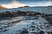 The glacier snout Solheimajokull is the southwestern outlet of the Myrdalsjokull icecap.  It is about 8 km long and 1-2 km wide.