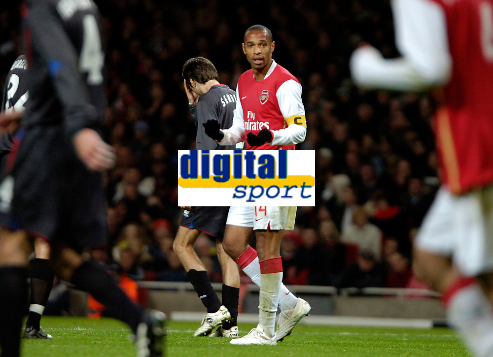 Photo: Ed Godden.<br /> Arsenal v CSKA Moscow. UEFA Champions League, Group G. 01/11/2006. Arsenal Captain,Thierry Henry, shows his frustration as another chance goes missing.
