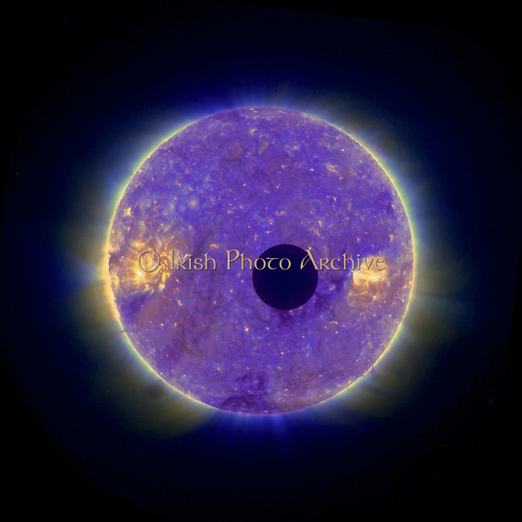 Solar Eclipse: Moon passing in front of the Sun 25 February 2007, showing solar corona. Image taken from space by the STEREO-B. Credit: NASA. Science Astronomy