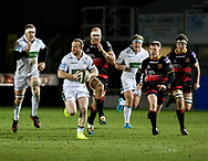 Glasgow Warriors' Nick Grigg makes a break<br /> <br /> Photographer Simon King/Replay Images<br /> <br /> Guinness PRO14 Round 14 - Dragons v Glasgow Warriors - Friday 9th February 2018 - Rodney Parade - Newport<br /> <br /> World Copyright © Replay Images . All rights reserved. info@replayimages.co.uk - http://replayimages.co.uk