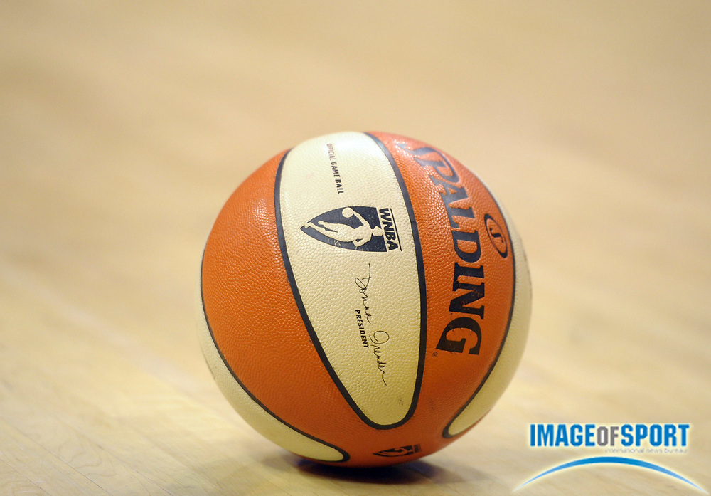 Aug 9, 2010; Los Angeles, CA, USA; A basketball of the WNBA on the court during the game between the Indiana Fever and the Los Angeles Sparksat the Staples Center. Photo by Image of Sport