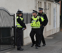 Police officers cordon off a house in Ratho Station near Edinburgh Airport following a firearms incident.<br /> <br /> <br /> © Dave Johnston/ EEm
