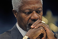 Kofi Annan U.N. Secretary General, speaks during a press conference following an extraordinary meeting of European foreign ministers and the United Nations about European military deployment to Lebanon as part of the cease-fire agreement between Israel and Hezbollah, at the European Council headquarters in Brussels, on August 25, 2006.