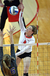 18 November 2016:  Ella Francis returns the ball over the outstretched arms of Lindsey Shultz during an NCAA women's volleyball match between the Northern Iowa Panthers and the Illinois State Redbirds at Redbird Arena in Normal IL (Photo by Alan Look)