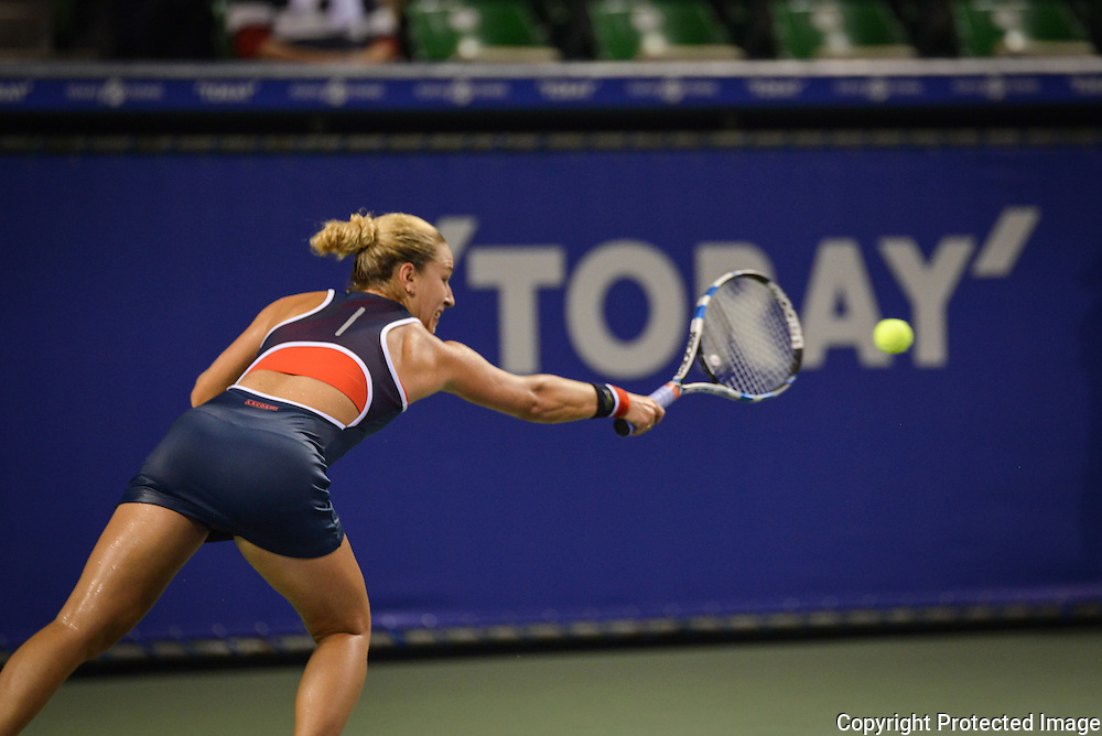 SEPTEMBER 20: Lucie Safarova of Czech Repuplic competes against Dominika Cibulkova of Slovakia during women's singles match day two of the Toray Pan Pacific Open at Ariake Colosseum on September 20, 2016 in Tokyo, Japan 20/09/2016-Tokyo, JAPAN