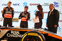 (L to R): Nico Hulkenberg (GER) Sahara Force India F1 with Sergio Perez (MEX) Sahara Force India F1 and Dr. Vijay Mallya (IND) Sahara Force India F1 Team Owner.<br /> Sahara Force India F1 Team Livery Reveal, Soumaya Museum, Mexico City, Mexico. Wednesday 21st January 2015.