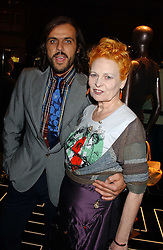 Top British fashion designer VIVIENNE WESTWOOD and her husband MR ANDREAS KRONTHALER at a party hosted by Versace during London Fashion Week 2005 at their store in Slaone Street, London on 19th September 2005.<br />