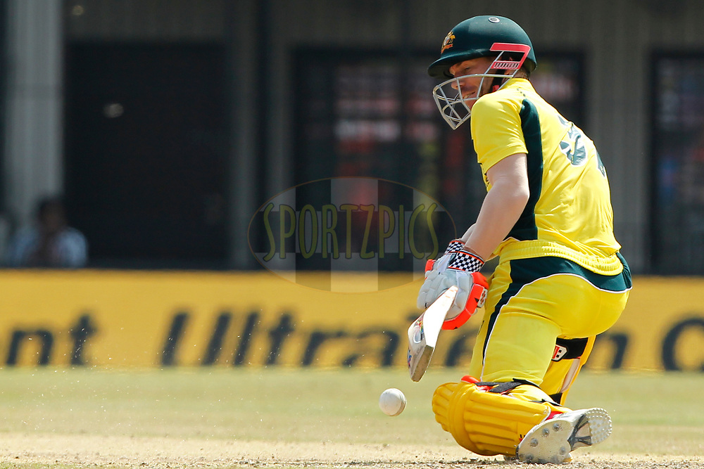 David Warner of Australia bats during the 3rd One Day International between India and Australia held at the Holkar Stadium in Indore on the 24th  September 2017<br /> <br /> Photo by Deepak Malik / BCCI / SPORTZPICS
