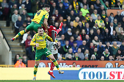Famara Diedhiou of Bristol City battles for possession - Mandatory by-line: Arron Gent/JMP - 23/02/2019 - FOOTBALL - Carrow Road - Norwich, England - Norwich City v Bristol City - Sky Bet Championship