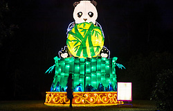 © Licensed to London News Pictures. 18/01/2017. London, UK. A panda lantern on display at he Chiswick House Magic Lantern Festival. The Festival is a fusion of art, heritage and culture. Illuminating outdoor installations of beautifully sculpted lanterns taking various forms. Opening tomorrow and running until February 26th 2017 the theme for this year's festival is: 'Explore The Silk Road'. Visitors will discover life-sized and oversized lantern scenes, which represent and highlight this significant route of trade and culture from Europe to Ancient China.Photo credit: Peter Macdiarmid/LNP