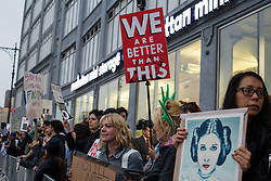 """May 4, 2017 - Manhattan, New York, U.S - Hundreds of protestors shouting ''Not My President,'' and  """"Make America THINK Again'', assembled across the street from the Intrepid Sea, Air & Space Museum, where the President spoke Thursday night. (Credit Image: © Nancy Siesel via ZUMA Wire)"""