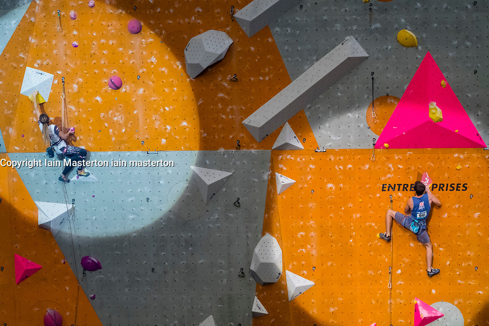 William Bossi of Great Britain ( right) competes in Men's Lead semi-final at the International Federation of Sport Climbing (IFSC) World Cup 2017 at Edinburgh International Climbing Arena, Scotland, United Kingdom.
