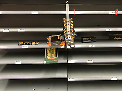 © Licensed to London News Pictures. 13/03/2020. Leeds UK. ASDA LEEDS. Empty Pasta shelves at ASDA in the Killingbeck area of Leeds this morning as people continue to panic buy in fear of quarantine measures and shortages as the current Coronavirus ( COVID-19 ) spread starts to impact more people. Photo credit: Andrew McCaren/LNP