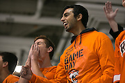Fans react to a near miss during a game against Union College at the Gene Polisseni Center on October 3, 2014.