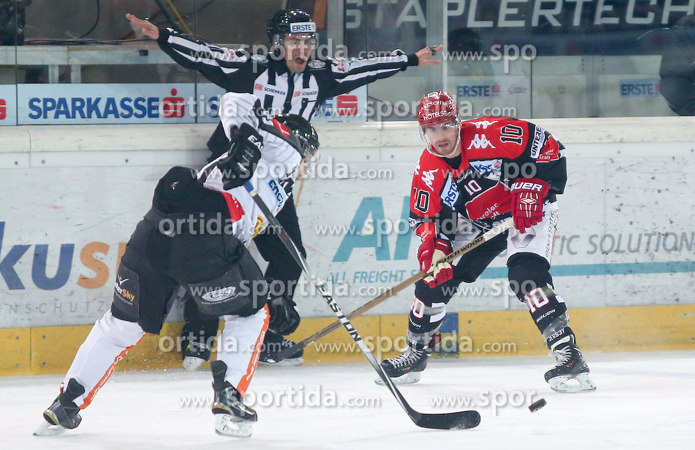 27.09.2015, Tiroler Wasserkraft Arena, Innsbruck, AUT, EBEL, HC TWK Innsbruck Die Haie vs Dornbirner Eishockey Club, 6. Runde, im Bild vl.: Robert Lembacher (Dornbirner Eishockey Club), Partick Moessmer (HC TWK Innsbruck Die Haie) // during the Erste Bank Icehockey League 6th round match between HC TWK Innsbruck Die Haie and Dornbirner Eishockey Club at the Tiroler Wasserkraft Arena in Innsbruck, Austria on 2015/09/27. EXPA Pictures © 2015, PhotoCredit: EXPA/ Jakob Gruber