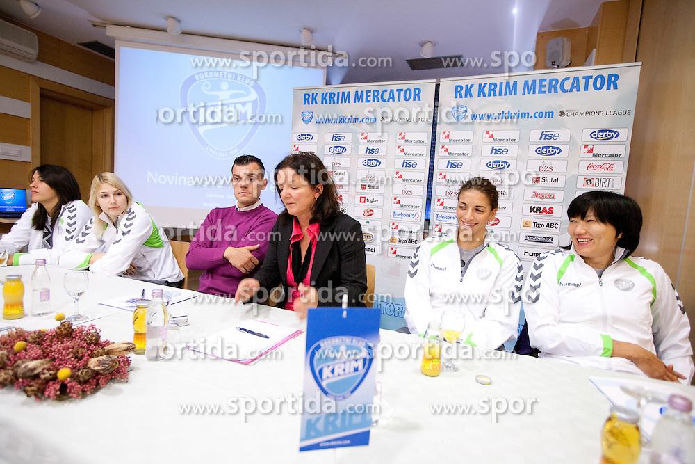 Andrea Lekic, Tamara Mavsar, Jaka Kravanja, Marta Bon, Andrea Penezic and Ljudmila Bodnjeva during press conference of handball team RK Krim Mercator before new season 2010-2011, on September 29, 2010 in M-Hotel, Ljubljana, Slovenia. (Photo By Vid Ponikvar / Sportida.com)