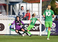 Bristol Academy's Mary Earps under pressure from Sunderland AFC Ladies' Bethany Mead - Mandatory by-line: Paul Knight/JMP - 25/07/2015 - SPORT - FOOTBALL - Bristol, England - Stoke Gifford Stadium - Bristol Academy Women v Sunderland AFC Ladies - FA Women's Super League