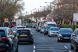 © Licensed to London News Pictures. 10/02/2020. London, UK. Heavy traffic on the A205 Upper Richmond Road South Circular as Richmond Park remains closed Monday in the aftermath of Storm Ciara as safety checks and clearance continues…. Photo credit: Alex Lentati/LNP