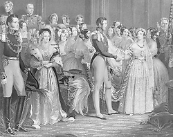 """After Sir George Hayter. Marriage of Queen Victoria, February 10, 1840. Artist: After Sir George Hayter (British, London 1792-1871 London). Dimensions: Sheet (trimmed within plate): 13 1/2 × 11 1/4 in. (34.3 × 28.5 cm). Engraver: Charles Eden Wagstaff (British, active 1798-1850). Printer: Day & Co. (London). Publisher: Henry Graves & Company (London). Sitter: Queen Victoria (British, London 1819-1901 Isle of Wight); Prince Albert of Saxe-Coburg and Gotha (Coburg, Germany 1819-1861 Windsor). Date: 1844.<br /> Queen Victoria married Prince Albert in the Chapel Royal, St. James's Palace, on the morning of February 10, 1842. Hayter, who had painted the coronation, was commissioned to depict this ceremony also, and Wagstaff's engraving reproduces his 1842 painting (Royal Collection). The couple join hands before the Archbishop of Canterbury, and their union is witnessed by 56 members of the court and royal family. Most of the attendees sat to Hayter between 1840 and 1841, including Victoria in her """"bridal dress, veil, wreath & all,"""" and the artist even included himself sketching at lower right. Credit: Album / Metropolitan Museum of Art, NY"""