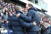 Brighton & Hove Albion manager Chris Hughton and Preston North End manager Simon Grayson during the EFL Sky Bet Championship match between Preston North End and Brighton and Hove Albion at Deepdale, Preston, England on 14 January 2017.