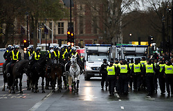 © London News Pictures. 21/11/2012. London, UK. POlice guard Westminster in London as Students and members of the NUS (National Union of Students) march through central London to protest against government cuts to further and higher education, on November 21, 2012. Photo credit: Ben Cawthra/LNP