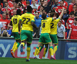 Norwich Celebrate their second goal by Nathan Redmond, Middlesbrough v Norwich, Sky Bet Championship, Play Off Final, Wembley Stadium, Monday  25th May 2015