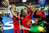 Victoire du PSG /  Edinson CAVANI / Blaise MATUIDI / LUCAS MOURA  - 11.04.2015 -  Bastia / PSG - Finale de la Coupe de la Ligue 2015<br />Photo : Dave Winter / Icon Sport