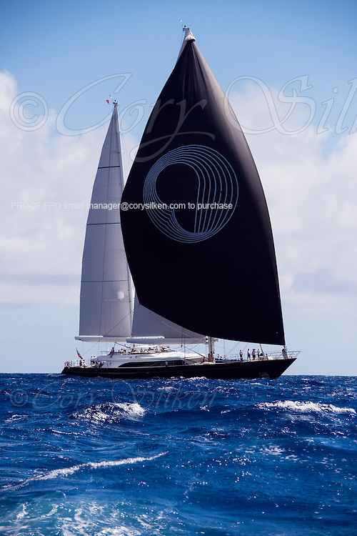 Panthalassa sailing in the Antigua Superyacht Challenge, day two.