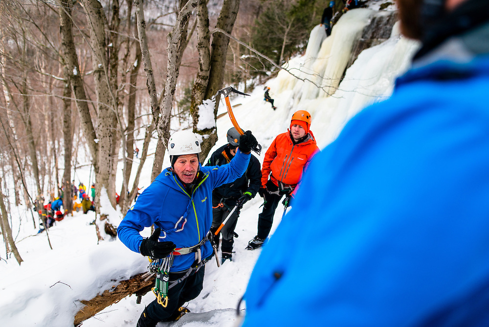 AMC Leader giving instruction on how to use an Ice Axe for climbing