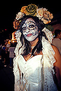 Dia de los Muertos, Austin Texas, October 23, 2010.  Sixth street is Austin's entertainment district and location of the South by Southwest Music Festival.