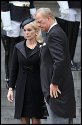Mark Thatcher and his wife arrive of his mother Lady Thatcher Funeral at St Paul's Cathedral following her death last week, London, UK, Wednesday 17 April, 2013, Photo by: Andrew Parsons / i-Images
