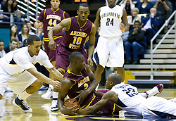 February 27, 2010; Berkeley, CA, USA;  Arizona State Sun Devils center Eric Boateng (2) fights for a loose ball with California Golden Bears guard Patrick Christopher (23) and forward Omondi Amoke (21)during the first half at Haas Pavilion.  California defeated Arizona State 62-46