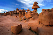 "Sandstone carved by thousands of years of wind and rain created these strange formations called ""Hoodoos"" at Goblin Valley State Park in Utah."