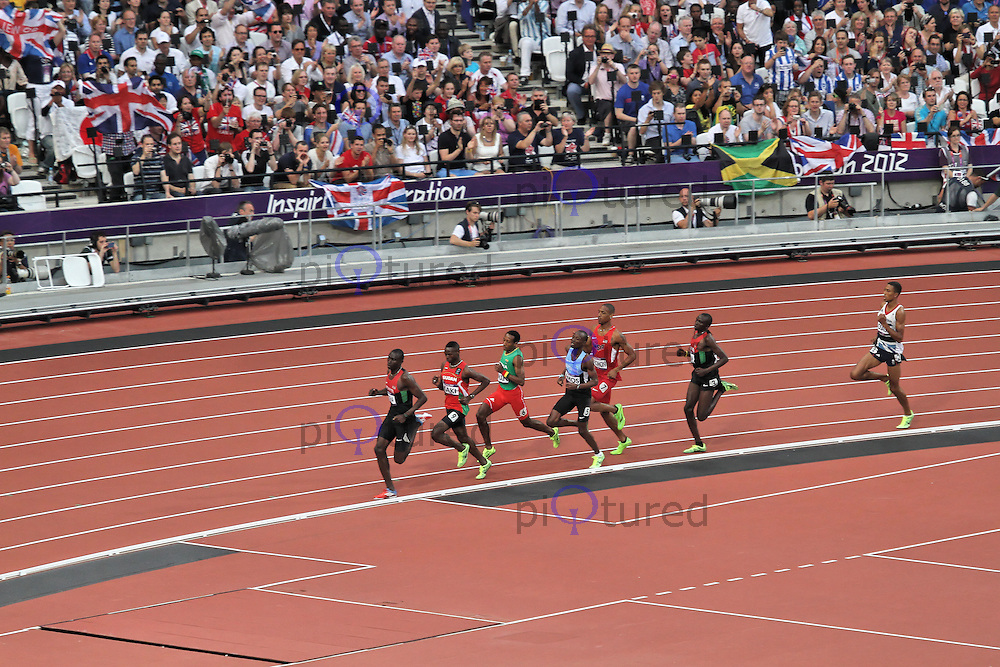 STRATFORD - AUGUST 09: David Lekuta Rudisha wins Gold for Kenya, Nijel Amos wins Silver for Botswana and Timothy Kitum wins Bronze for Kenya in the Men's 800m Final, Olympic Stadium, Stratford, London, UK. August 09, 2012. (Photo by Richard Goldschmidt)