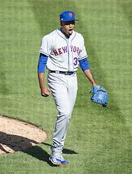 March 28, 2019 - Washington, District of Columbia, U.S. - New York Mets relief pitcher Edwin Diaz (39) celebrates his first save of the season against the Washington Nationals at Nationals Park in Washington, D.C. on Thursday, March 28, 2018.  The Mets won the game 2-0  (Credit Image: © Ron Sachs/CNP via ZUMA Wire)