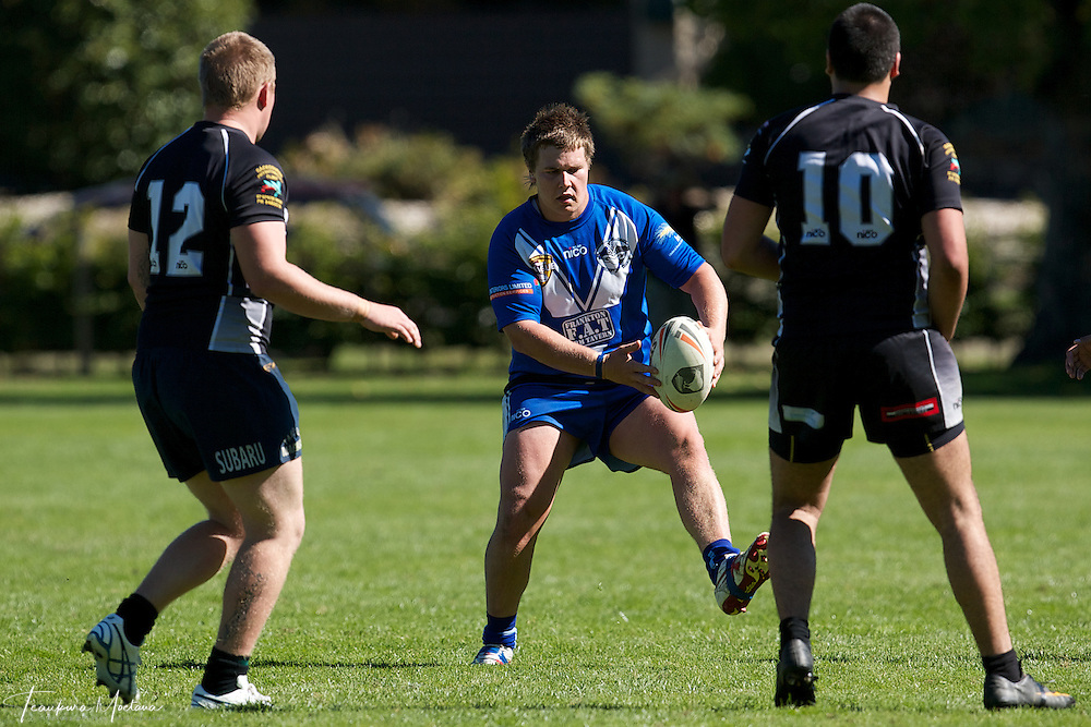 Pace Johnson of the Giants makes a break during the preaseason Rugby league game between the Wakatipu Giants and Hornby U18s at the Jack Reid Park, Arrowtown, New Zealand. Saturday, March 17, 2012. Credit:Teaukura Moetaua / Media Sport