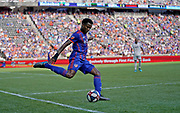 FC Cincinnati defender Alvas Powell (92) clears the ball from his own end during a MLS soccer game, Sunday, July 21, 2019, in Cincinnati, OH. The Revolution defeated FC Cincinnati 2-0.(Jason Whitman/Image of Sport)