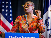 07 APRIL 2019 - OSKALOOSA, IOWA:  State Senator NINA TURNER (D-OH) introduces US Senator Bernie Sanders at a campaign event Sunday. Sanders held a town hall campaign event on the campus of  William Penn University in Oskaloosa. Sanders is one of dozens of Democratics who hope to be the party's nominee for the 2020 US Presidential election. Iowa holds the first in the country selection contest with state caucuses on Feb. 3, 2020.   PHOTO BY JACK KURTZ