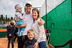 Miha Mlakar with his family during Davis Cup 2018 Europe/Africa zone Group II between Slovenia and Turkey, on April 8, 2018 in Portoroz / Portorose, Slovenia. Photo by Vid Ponikvar / Sportida