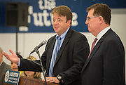Principal Andrew Wainwright, left, comments on the new Westbury High School mascot with Houston ISD superintendent Dr. Terry Grier, right, after the announcement of new mascot names for Lamar High School, Westbury, Welch Middle School and Hamilton Middle Schhool at Hamilton, April 15, 2014.