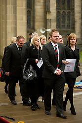 "Family including including his mother Cheryl Routlidge and Brother Jonathan Riley leave the funeral of  Corporal Liam Riley following the barer party made up of Soldiers from The Yorkshire Regiment carried Corporal Liam Rileys coffin out of Sheffield Cathedral where his Funeral service took place on Wednesday 24 February. ..Corporal Riley of 3rd Battalion Yorkshire Regiment who died in an explosion in Afghanistan on 1 February 2010 while on foot patrol south of the Kings Hill check point Helmand. ..Upon hearing of Liam's death he was described by Price Harry as ""a legend"""