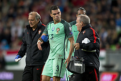 September 3, 2017 - Budapest, Hungary - Pepe of Portugal injured during the FIFA World Cup 2018 Qualifying Round match between Hungary and Portugal at Groupama Arena in Budapest, Hungary on September 3, 2017  (Credit Image: © Andrew Surma/NurPhoto via ZUMA Press)