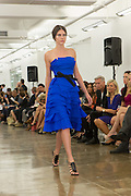 Electric blue multi-tiered strapless dress. By Carmen Marc Valvo at the Spring 2013 Fashion Week show in New York.